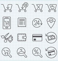 Line icons set for web design and user interface vector