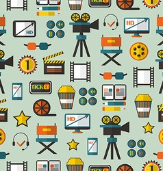 Seamless pattern with cinema equipment vector
