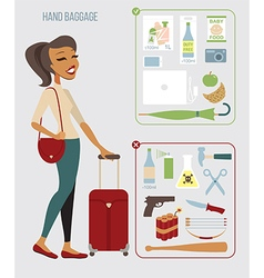 Woman traveling with hand baggage vector