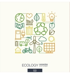 Ecology integrated thin line symbols modern vector