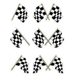 Checkered flags set vector