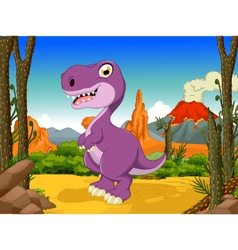 Funny tyrannosaurs cartoon with volcano vector