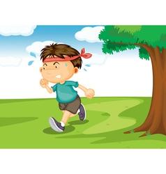 A boy running outside vector