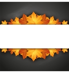 Autumn background with maple leaves on blackboard vector