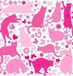 Baby girls background with cats vector image vector image
