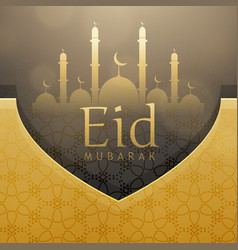 Beautiful eid festival greeting card design with vector