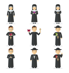 Catholic pastor set vector