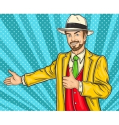 Confident pop art hipster man invites you to the vector