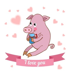 drawn by animal pig declaration of love vector image vector image