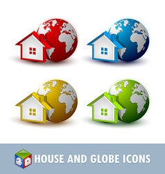 Earth and house icons vector image
