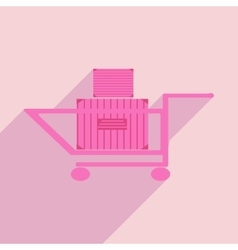 Flat with shadow icon and mobile application cart vector