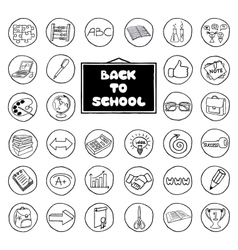 Hand drawn school buttons set vector image vector image