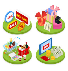 Isometric online shopping concept mobile payment vector