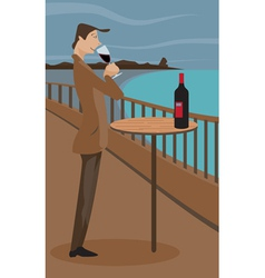 Man sipping wine vector