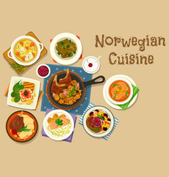 Norwegian cuisine fish and meat dishes icon vector