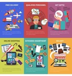 Online store mini posters set vector