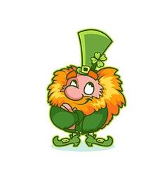 Satisfied Leprechaun in green costume vector image