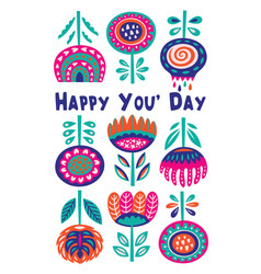 Scandinavian flora banner with happy message vector