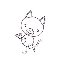 sketch contour caricature with cute cat dancing vector image vector image
