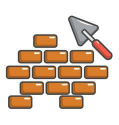 Trowel and brick wall icon cartoon style vector
