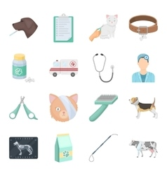 Veterinary clinic set icons in cartoon style big vector