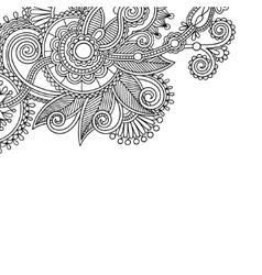 vintage floral ornamental black and white card vector image vector image