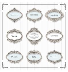 Vintage oval frames set vector image vector image