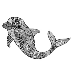 Zentangle stylized dolphin Hand Drawn aquatic vector image vector image