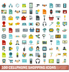 100 cellphone shopping icons set flat style vector