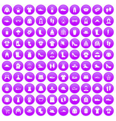 100 rags icons set purple vector