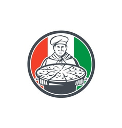 Italian chef cook serving pizza circle retro vector