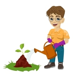 Young boy watering a plant vector