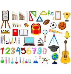 different kinds of School equipment cartoon vector image
