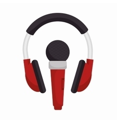 Headphone with microphone sound design vector