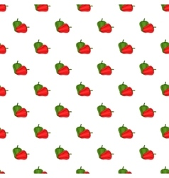 Red and green sweet pepper pattern cartoon style vector image