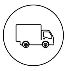 monochrome contour circular frame with truck icon vector image