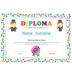 Preschool kids diploma certificate elementary vector