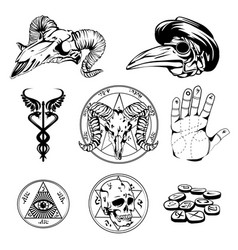 Sketch set of esoteric symbols and occult vector