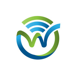 Letter w with wifi logo vector