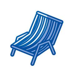 Blue shading silhouette of beach chair vector