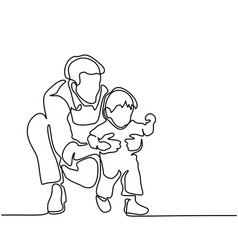 father and son baby beginning to walk vector image