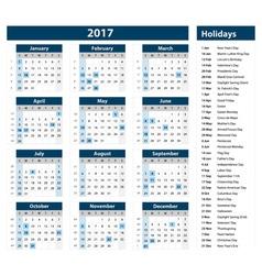2017 calendar - template of 2017 calendar vector