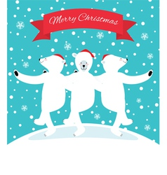 Three polar bears dancing vector