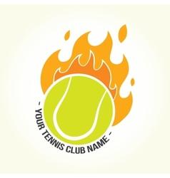 Burning tennis ball logo vector image
