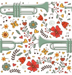 Seamless pattern with saxophone and flowers vector