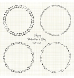 Set of circle cute frames for the st valentines vector