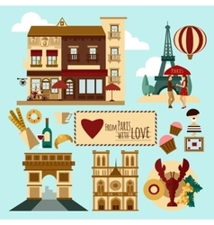Paris touristic set vector