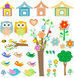Set birds with birdhouses owls trees and flowers vector