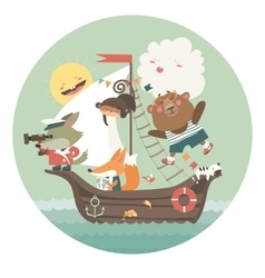 Cute animals travelling by ship on sea vector