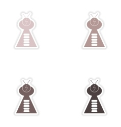 Set of paper stickers on white background ufo ship vector